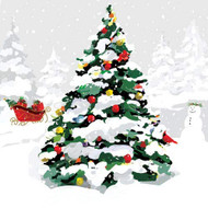 Christmas Tree Luncheon Napkins, Holiday Napkins, Winter Entertaining