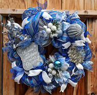 "Snowflake 26 inch""If Kisses Were Snowflakes"" Blue and Silver Deco Wreath"