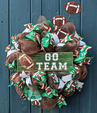 """Go Team"" 26 inch Brown and Green Football Wreath"