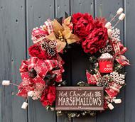 """Hot Chocolate and Marshmallows"" 26 inch Red and Tan Deco Wreath"