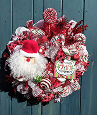 "Santa 26 inch""Have a Holly Jolly Christmas"" Red and White Deco Wreath"