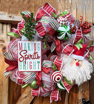 "Santa 26 inch""Making Spirits Bright"" Red and Green Deco Wreath"