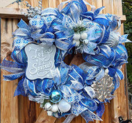 "Snowflake 26 inch""Let It Snow"" Blue and Silver Deco Wreath"
