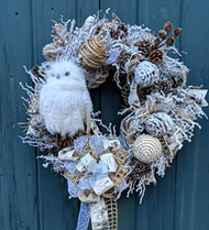 """Woodland Owl"" 26 inch White and Natural Deco Wreath"