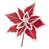 "D R 10"" Pearl Poinsettia Flower on Stem, Set of 2, Gift Decorations, Christmas Tree Decorations, Holiday Decorations"