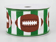 "2.5"" Footballs On Stripe Ribbon Green & White 10 Yards"