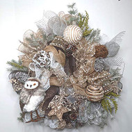 "Woodland Owl 26"" Wreath, Winter Wreath, Rustic Wreath,"