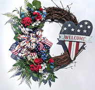 "26"" Grapevine Heart Flag Wreath"
