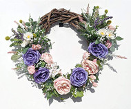 "22"" Pink and Purple Cabbage Rose Floral Wreath"