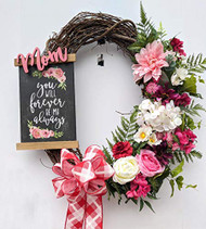 "Mom's 28"" Grapevine Wreath, Mother's Day Wreath, Floral Wreath"