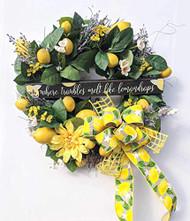 """Lemondrops 24"""" Wreath, Summer Wreath, Lemon Wreath"""