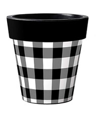 "Black and White Check 12"" Art Pot Planter"