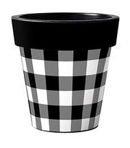 "Black & White Check 15"" Art Planter"