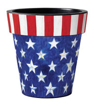 "Stars and Stripes Forever 15"" Art Planter, Patriotic Planter, Outside Planter"