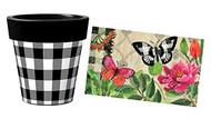 """Butterfies in Check 12"""" Art Planter and Door Mat Combo, Outside Planter, Summer Planter, Indoor Planter, Door Mat, Butterflies"""