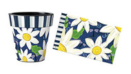 "Daisy Blues 12"" Art Planter and Door Mat Combo, Outside Planter, Summer Planter, Indoor Planter, Door Mat, Daisy Planter and Mat"