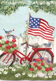 Patriotic Bike Garden Flag, Summer Flag, Patriotic Flag