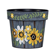 "Painted Flowers 6"" Planter, Floral Planter, Summer, Outside/Indoor, Gardening, Pot,"