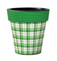 "Green and White Plaid 12"" Art Planter, Outside Planter, Summer Planter, Holiday Planter, Winter Planter"