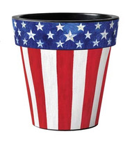 "Stars and Stripes Forever 12"" Art Planter, Patriotic Planter, Outside Planter"