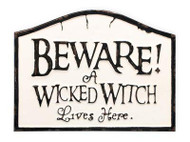 "Beware of Wicked Witch Metal Sign, 14"" x 10-1/2"", Halloween Wreath Adornment, Halloween Sign"