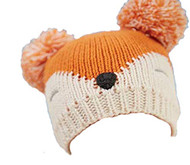 Fox Knit Hat Toddler fits Infants 6-18 Months Orange