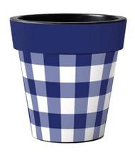 """Blue & White Check 15"""" Art Planter, Gingham Planter, Summer Planter, Outside/Indoor Planter, Gardening, Pot"""