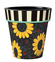 """Sunflower Toss on Black 15"""" Art Planter"""