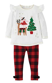 Reindeer Mouse Two Piece Tunic & Legging Set, Holiday Kids Outfits, Buffalo Check Outfits,