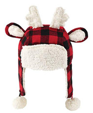 Unisex Infants Buffalo Check Reindeer Hat Red, Black
