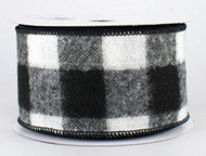 "Black and White Check Flannel Wired Ribbon - 2-1/2"" x 10 yds"