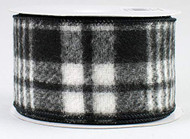 "Black Flannel Plaid Wired Ribbon - 2-1/2"" x 10 yds"