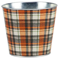 "Autumn Plaid 5"" Metal Planter, Fall Planter, Autumn, Gardening, Pot,"