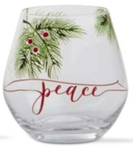 Peace Stemless Wine Glass, Cocktail Glass, Christmas Glassware, Holiday Glassware