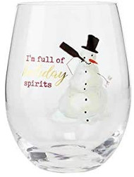 Snowman Funny Stemless Wine Glass, Cocktail Glass, Christmas Glassware, Holiday Glassware