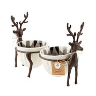 Reindeer Double Dip Cup Set, Rustic Serveware, Holiday Serveware, Hostess Gift