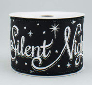 "Black Silent Night Holy Night Ribbon 2-1/2"" Wide x 10 yd"