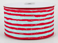 "Ice Blue & Red Irregular Stripes Ribbon 2-1/2"" Wide x 10 yd, Holiday Ribbon"