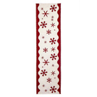 White Table Runner with Red Snowflakes