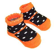 Unisex Baby Black & Orange Knit Booties, Socks, 0-12 Months