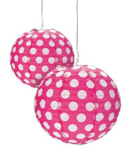 "Hot Pink Polka Dot Paper Lantern - 12"" - Set of 2"