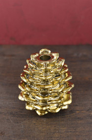 Gold Pinecone Candle Holder