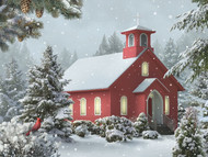 Red Church & Cardinal Lighted Print
