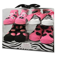 Baby Essentials Infant Girls Pink Zebra Socks, Booties - Set of 4, 0-12 months