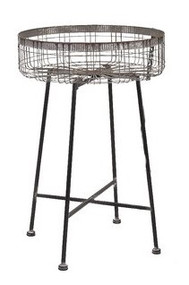 "21"" Round 100% Iron Wire, Plant Stand,  Grey"