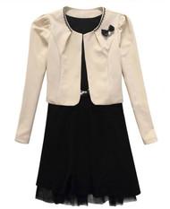 Womans Two Piece Suit Dress Cream & Black Y91920S - Large