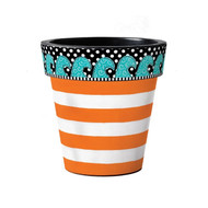 "Orange Cabana Stripe 15"" Art Planter"