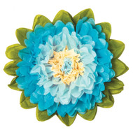 Tissue Paper Flower - Ice & Turquoise 10 Inch