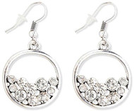 Antique Silver Hoops with Multi Crystal Earrings