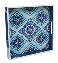 "15"" Blue & White Decorative Tray"